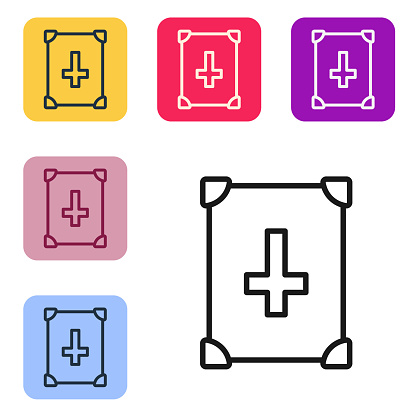Black line Ancient magic book with alchemy recipes and mystic spells and enchantments icon isolated on white background. Set icons in color square buttons. Vector
