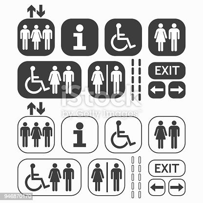 Black line and silhouette Man and Woman public access icons set on white background