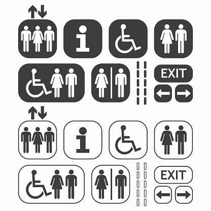 Black line and silhouette Man and Woman public access icons set on white background clipart