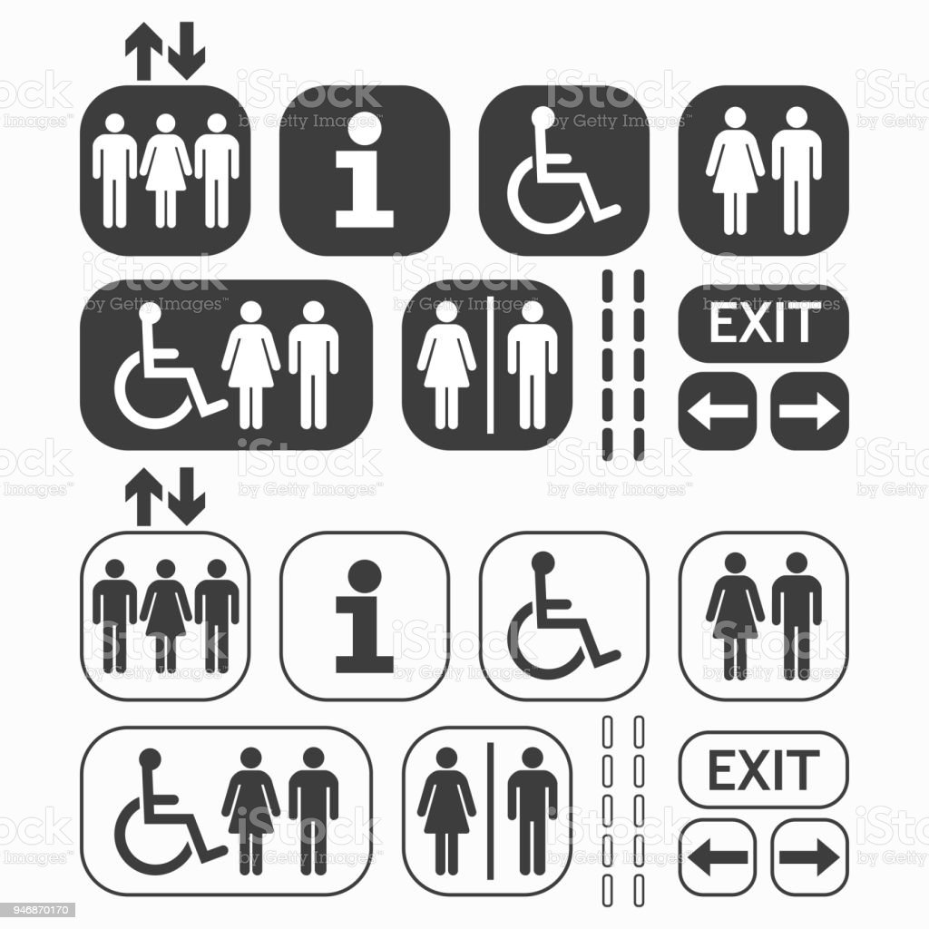 Black line and silhouette Man and Woman public access icons set on white background vector art illustration