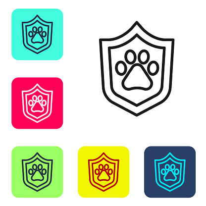 Black line Animal health insurance icon isolated on white background. Pet protection concept. Dog or cat paw print. Set icons in color square buttons. Vector