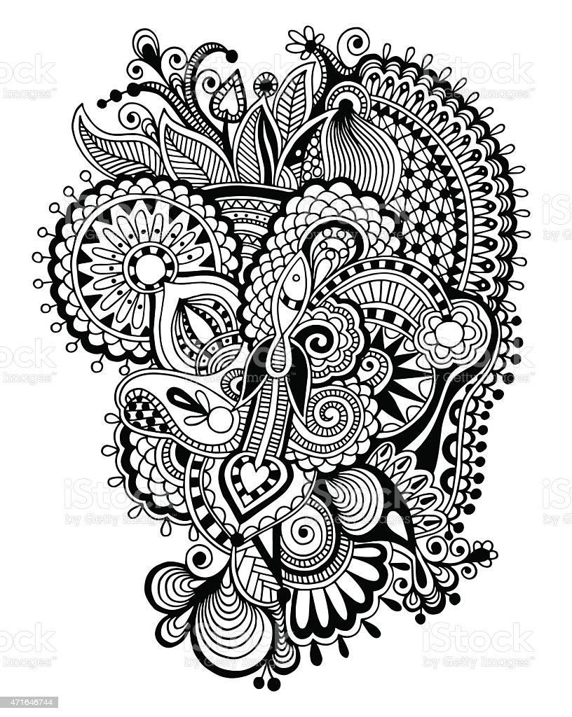 Black Line Art Flower Drawing Stockvectorkunst En Meer Beelden Van