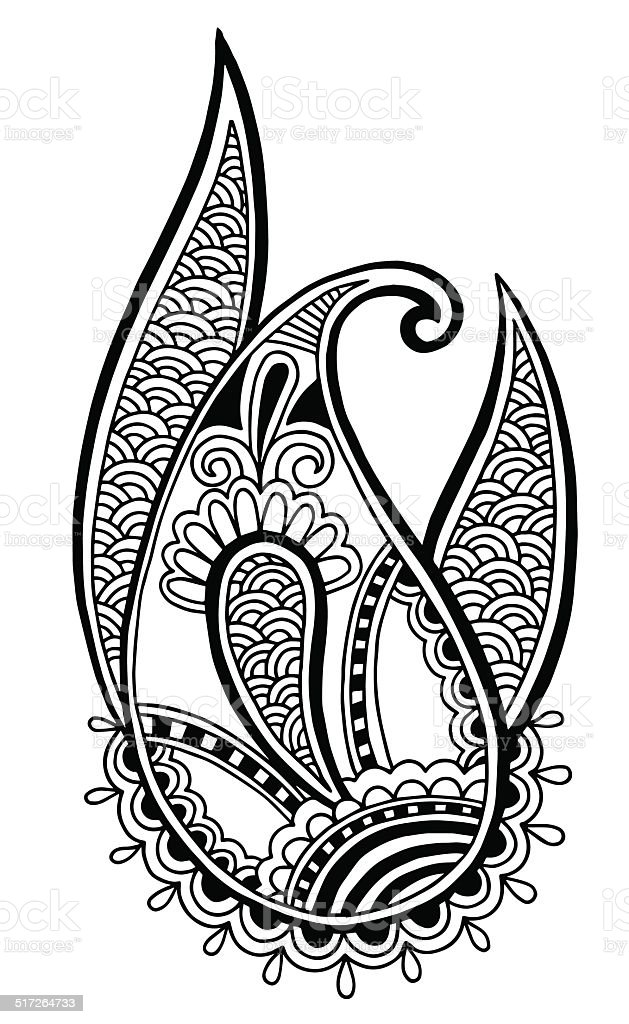 black line art ornate flower design collection, ukrainian ethnic...