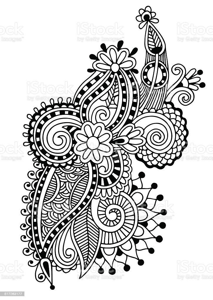 black line art ornate flower design stock vector art