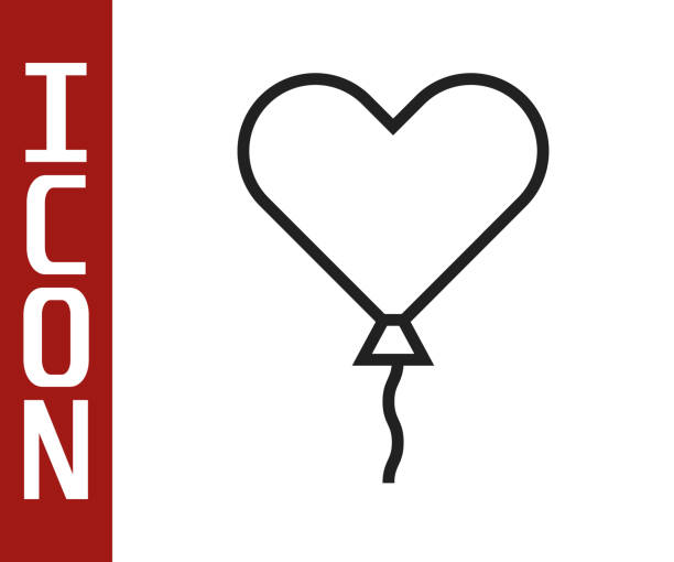 Black line Balloon in form of heart with ribbon icon isolated on white background. Valentines day. Vector Illustration Black line Balloon in form of heart with ribbon icon isolated on white background. Valentines day. Vector Illustration anniversary clipart stock illustrations