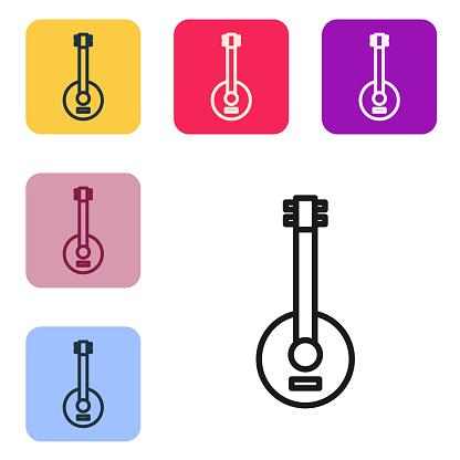 Black line Banjo icon isolated on white background. Musical inst