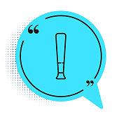 Black line Baseball bat icon isolated on white background. Sport equipment. Blue speech bubble symbol. Vector Illustration