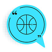 Black line Basketball ball icon isolated on white background. Sport symbol. Blue speech bubble symbol. Vector Illustration