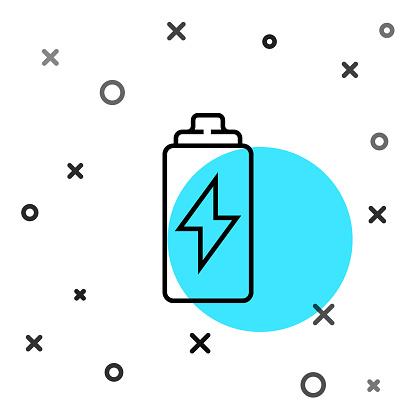 Black line Battery icon isolated on white background. Lightning bolt symbol. Random dynamic shapes. Vector Illustration