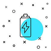 istock Black line Battery icon isolated on white background. Lightning bolt symbol. Random dynamic shapes. Vector Illustration 1269292472