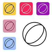 Black line Beach ball icon isolated on white background. Set icons in color square buttons. Vector Illustration