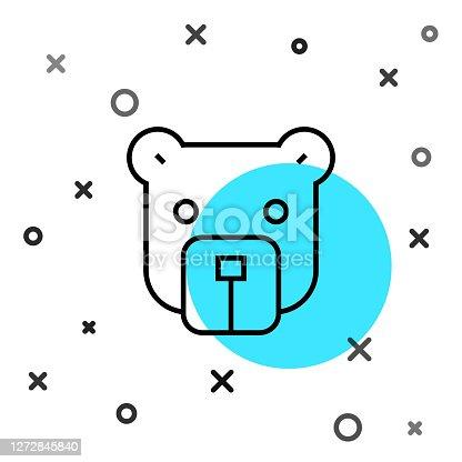 Black line Bear head icon isolated on white background. Random dynamic shapes. Vector.