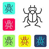Black line Beetle bug icon isolated on white background. Set icons in color square buttons. Vector.