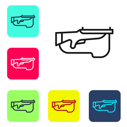 Black line Biathlon rifle icon isolated on white background. Ski gun. Set icons in color square buttons. Vector