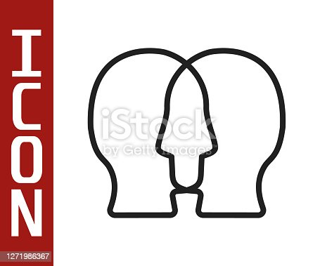 istock Black line Bipolar disorder icon isolated on white background. Vector 1271986367