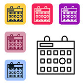 Black line Birthday calendar icon isolated on white background. Set icons in color square buttons. Vector Illustration