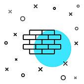 Black line Bricks icon isolated on white background. Random dynamic shapes. Vector Illustration