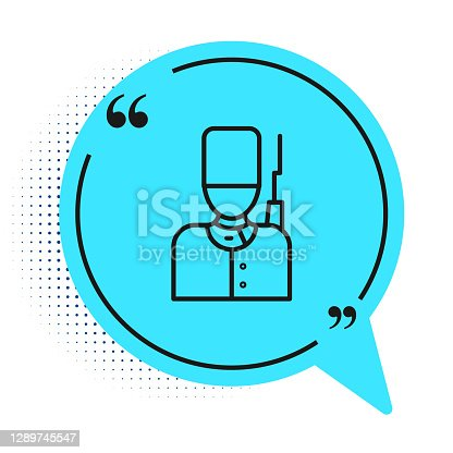 Black line British guardsman with bearskin hat marching icon isolated on white background. Blue speech bubble symbol. Vector.