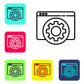 Black line Browser setting icon isolated on white background. Adjusting, service, maintenance, repair, fixing. Set icons in color square buttons. Vector Illustration
