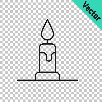 Black line Burning candle in candlestick icon isolated on transparent background. Cylindrical candle stick with burning flame. Vector