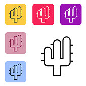 Black line Cactus icon isolated on white background. Set icons in color square buttons. Vector Illustration