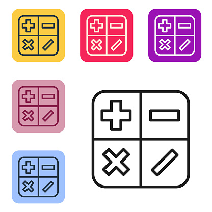 Black line Calculator icon isolated on white background. Accounting symbol. Business calculations mathematics education and finance. Set icons in color square buttons. Vector Illustration