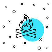 Black line Campfire icon isolated on white background. Burning bonfire with wood. Random dynamic shapes. Vector Illustration