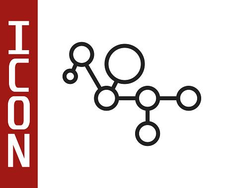 Black line Cannabis molecule icon isolated on white background. Cannabidiol molecular structures, THC and CBD formula. Marijuana or cannabis. Vector Illustration