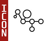 istock Black line Cannabis molecule icon isolated on white background. Cannabidiol molecular structures, THC and CBD formula. Marijuana or cannabis. Vector Illustration 1271393828