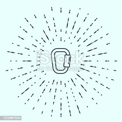 Black line Carabiner icon isolated on grey background. Extreme sport. Sport equipment. Abstract circle random dots. Vector Illustration