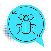 Black line Chafer beetle icon isolated on white background. Blue speech bubble symbol. Vector.