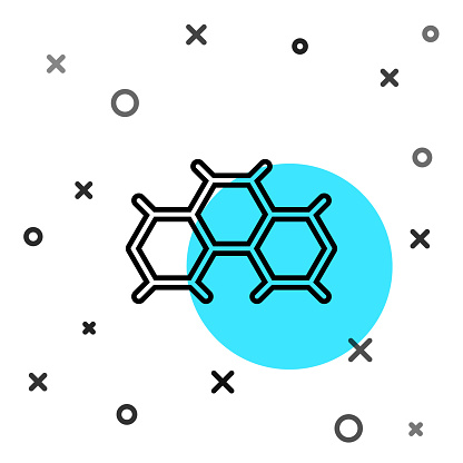 Black line Chemical formula icon isolated on white background. Abstract hexagon for innovation medicine, health, research and science. Random dynamic shapes. Vector