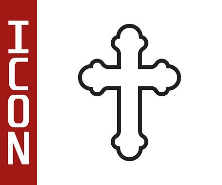 Black line Christian cross icon isolated on white background. Church cross. Vector Illustration