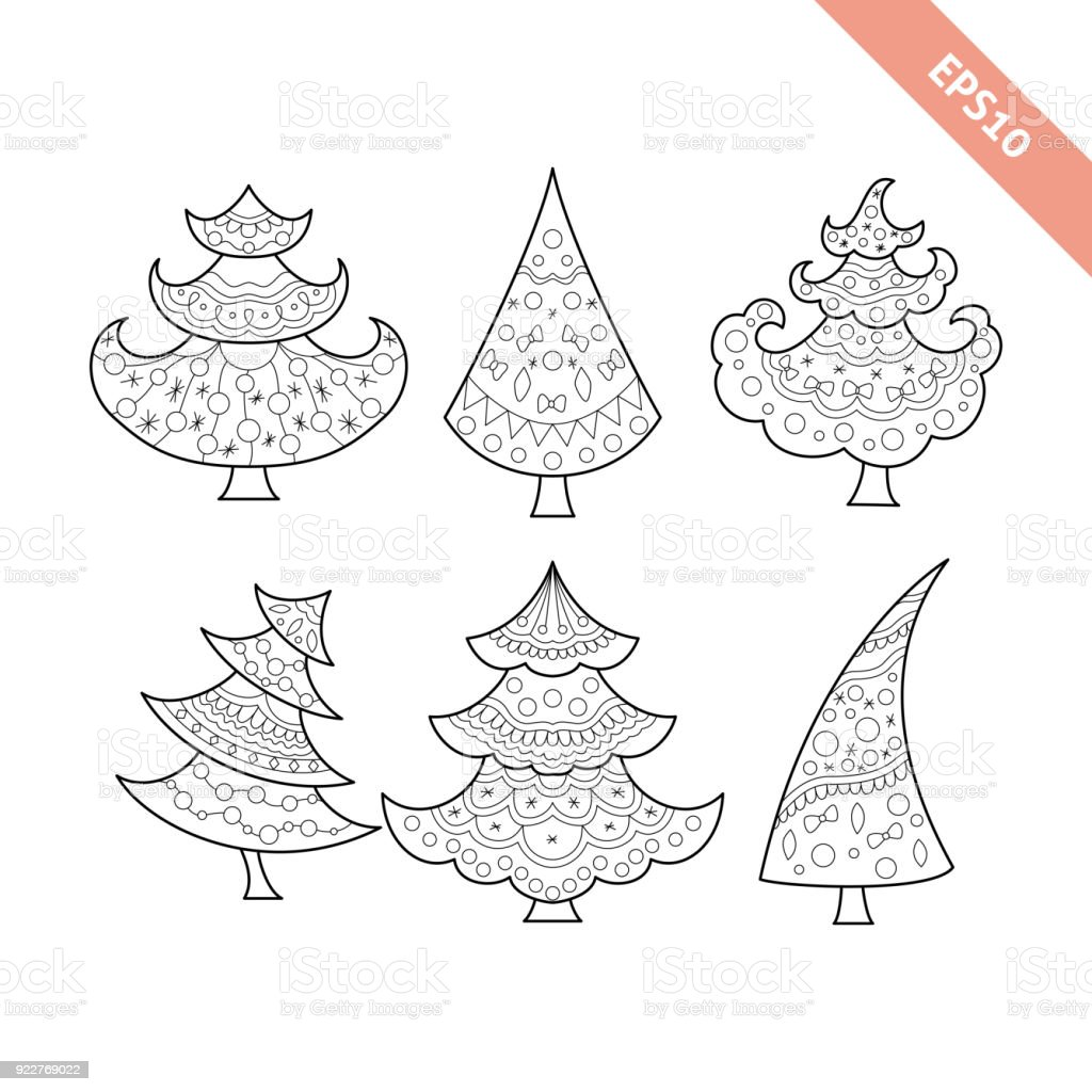 black line christmas tree collection christmas coloring book page royalty free black line