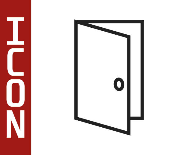 bildbanksillustrationer, clip art samt tecknat material och ikoner med svart linje stängd dörrikon isolerad på vit bakgrund. vektor illustration - wood sign isolated
