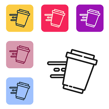 Black line Coffee cup to go icon isolated on white background. Set icons in color square buttons. Vector.