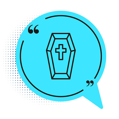 Black line Coffin with christian cross icon isolated on white background. Happy Halloween party. Blue speech bubble symbol. Vector