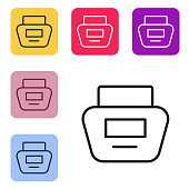 Black line Cream or lotion cosmetic tube icon isolated on white background. Body care products for men. Set icons in color square buttons. Vector Illustration
