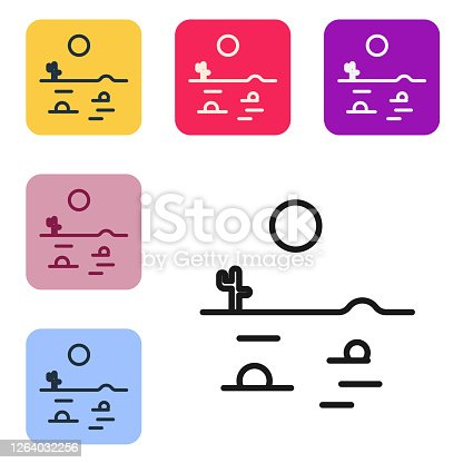 Black line Desert landscape with cactus icon isolated on white background. Set icons in color square buttons. Vector Illustration