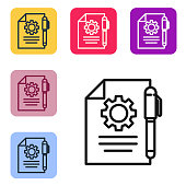 Black line Document settings with gears icon isolated on white background. Software update, transfer protocol, teamwork tool management. Set icons in color square buttons. Vector Illustration