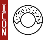 Black line Donut with sweet glaze icon isolated on white background. Vector Illustration