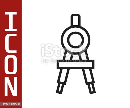 istock Black line Drawing compass icon isolated on white background. Compasses sign. Drawing and educational tools. Geometric instrument. Vector Illustration 1253908560