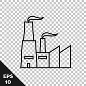 Black line Factory icon isolated on transparent background. Industrial building.  Vector Illustration
