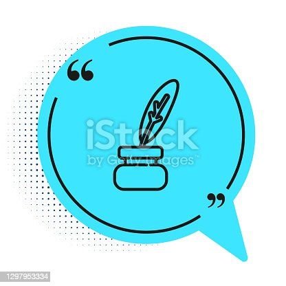 istock Black line Feather and inkwell icon isolated on white background. Blue speech bubble symbol. Vector 1297953334