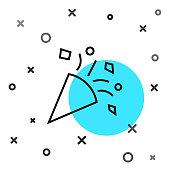 Black line Festive confetti icon isolated on white background. Random dynamic shapes. Vector Illustration
