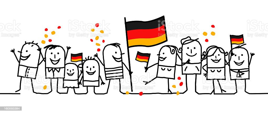 Black line figures celebrating German national holiday vector art illustration