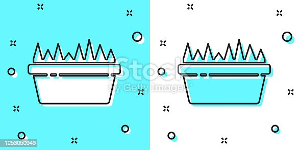Black line Fresh grass in a rectangular icon isolated on green and white background. Home decor. The symbol of growth and ecology. Random dynamic shapes. Vector Illustration