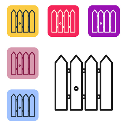 Black line Garden fence wooden icon isolated on white background. Set icons in color square buttons. Vector Illustration