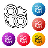 Black line Gear and arrows as workflow process concept icon isolated on white background. Gear reload sign. Set icons colorful circle buttons. Vector Illustration