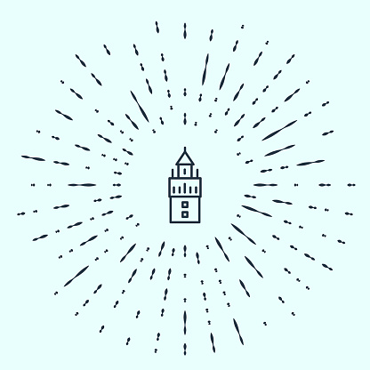 Black line Giralda in Seville Spain icon isolated on grey background. Abstract circle random dots. Vector